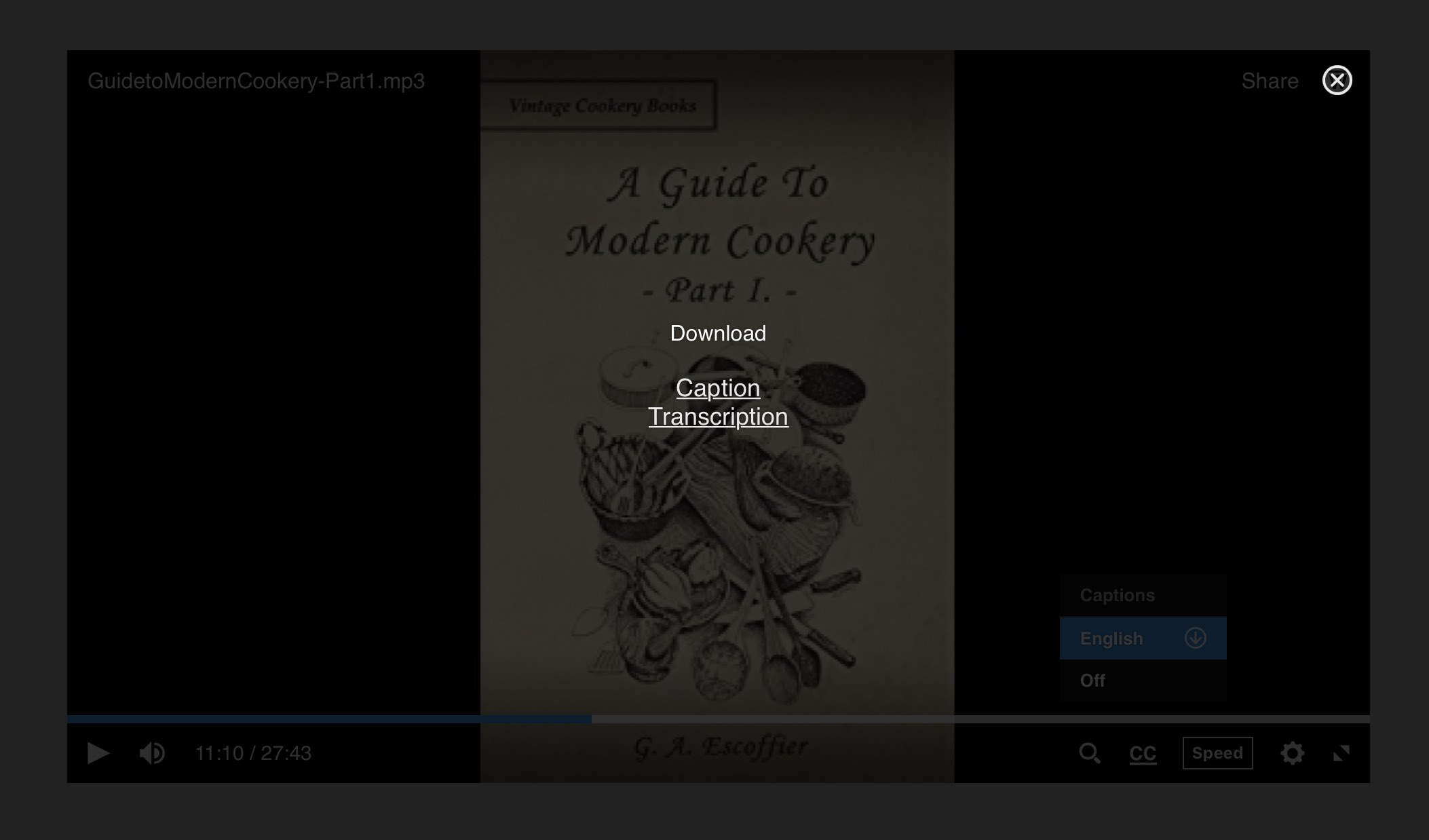 Audio player overlay displaying caption and transcript download links