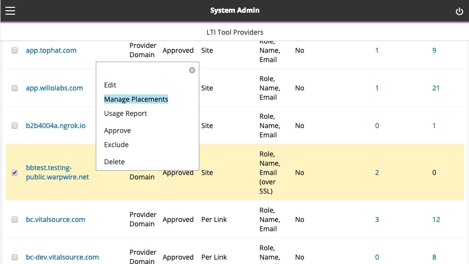 System admin view, Manage Placements selected from dropdown hover menu