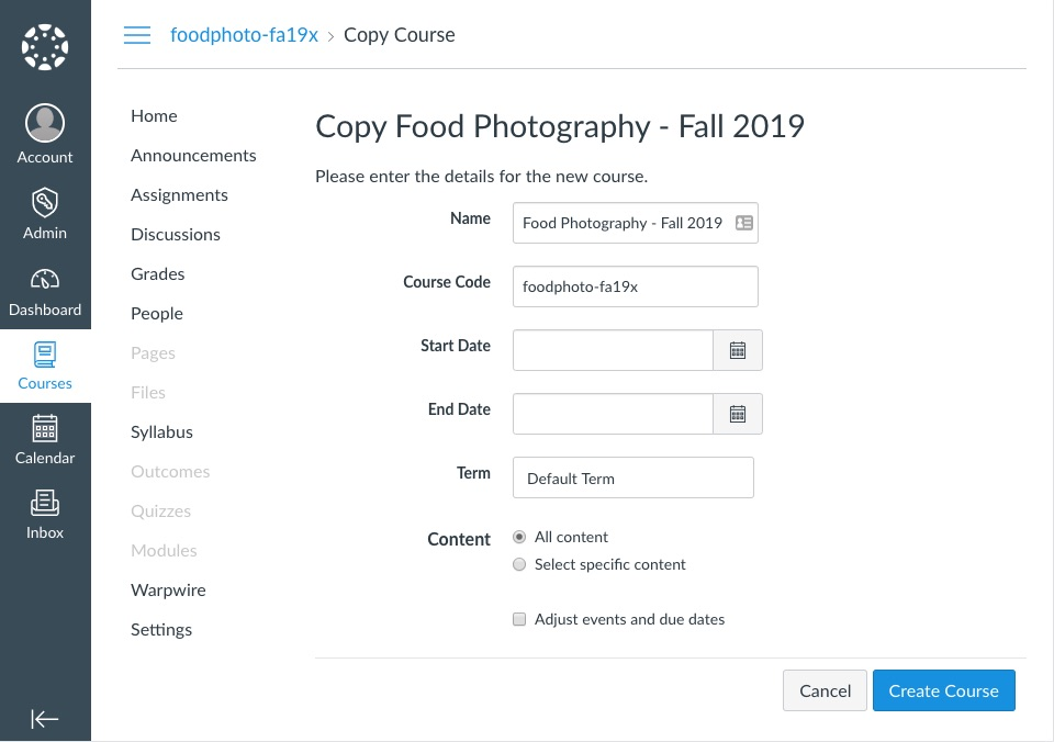Copy Course page with page details to be filled out