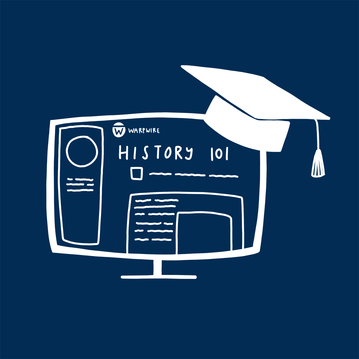 A computer screen with a graduation cap on it