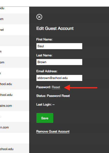 arrow pointing at location of password reset link in guest account panel