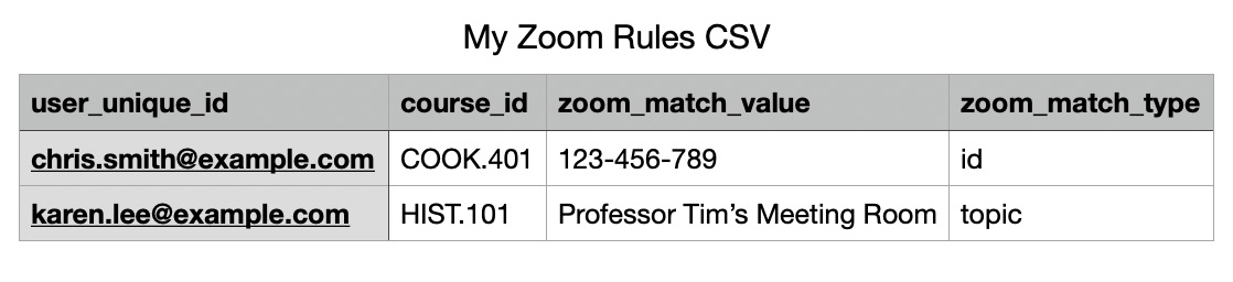 Example of CSV file ready for Zoom Rule import.