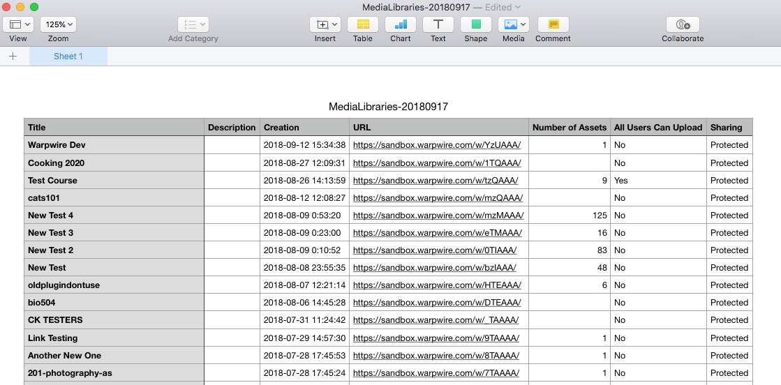 spreadsheet showing information about all Media Libraries