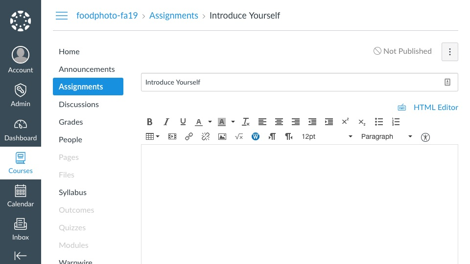 Assignment page within Canvas
