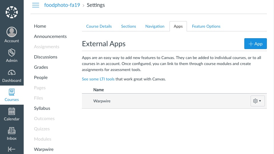 External Apps page within Canvas Settings page