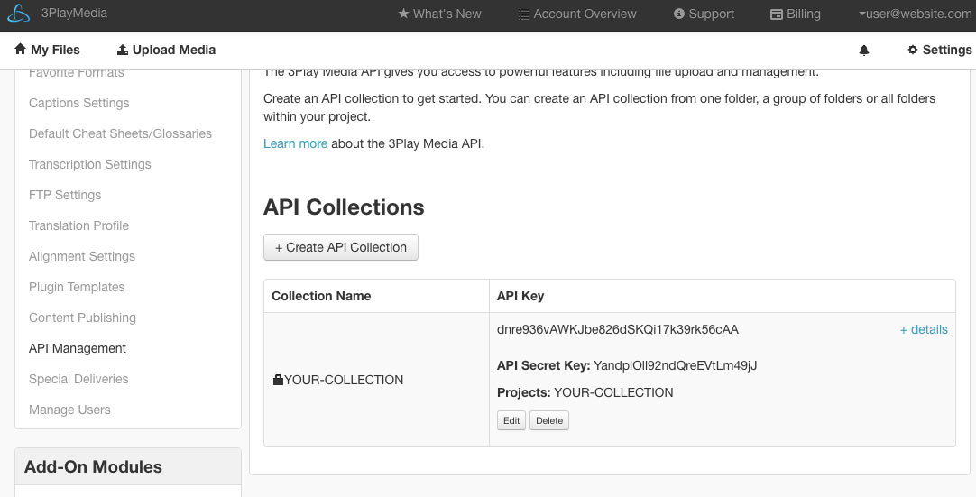The API Collections sections of the settings page on the 3Play Media website
