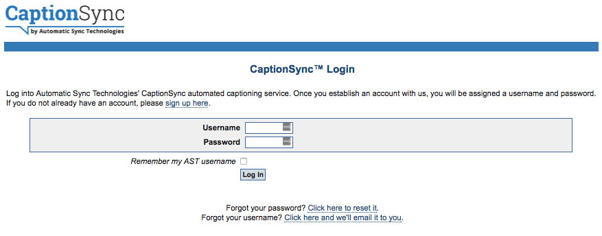 CaptionSync login page