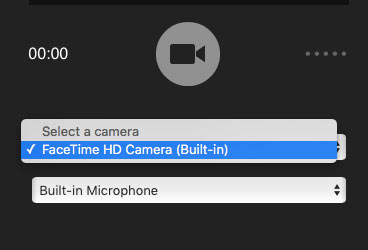 Flash camera capture interface wiht camera selection dropdown active