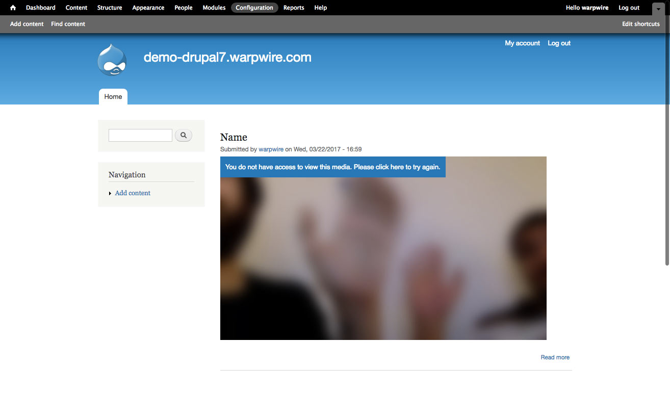 Drupal page with locked Warpwire video