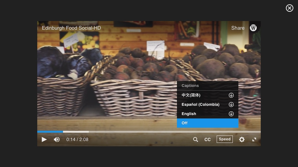 Close up of Warpwire video player, with closed caption menu selected