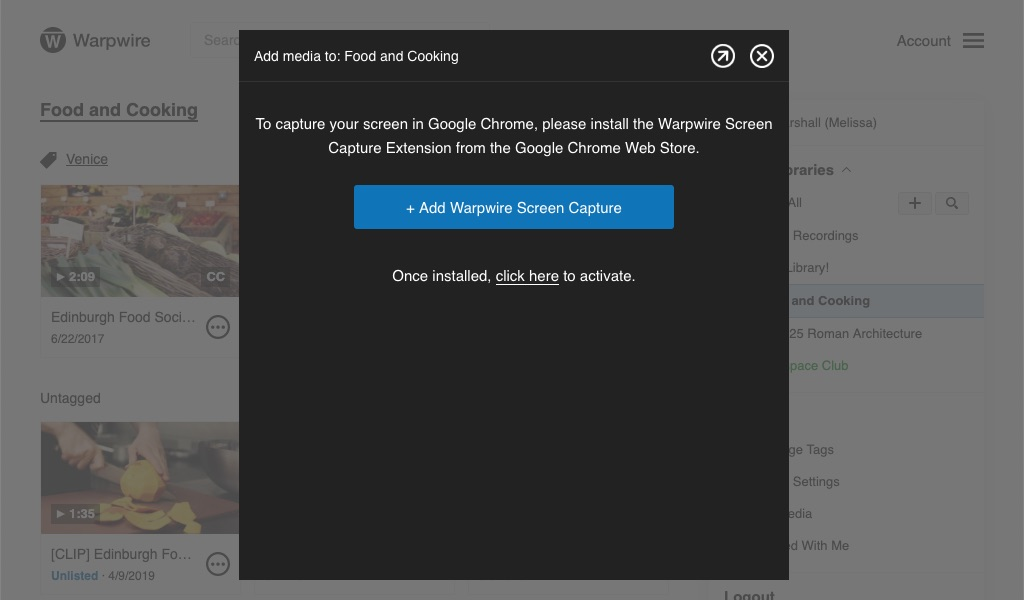 Alert to add Chrome Extension for screen capture