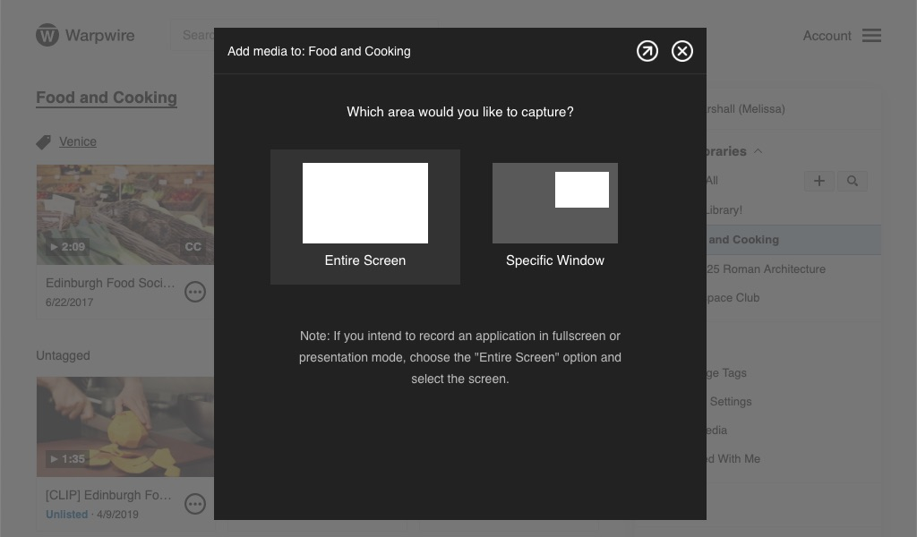 Pop-up screen within the Warpwire video platform with option to record 'Entire Screen' or 'Specific Window'