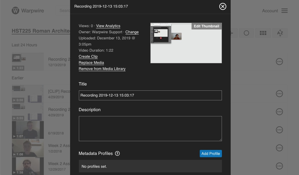 Warpwire Media Settings page, red arrow pointing to 'Create Clip'