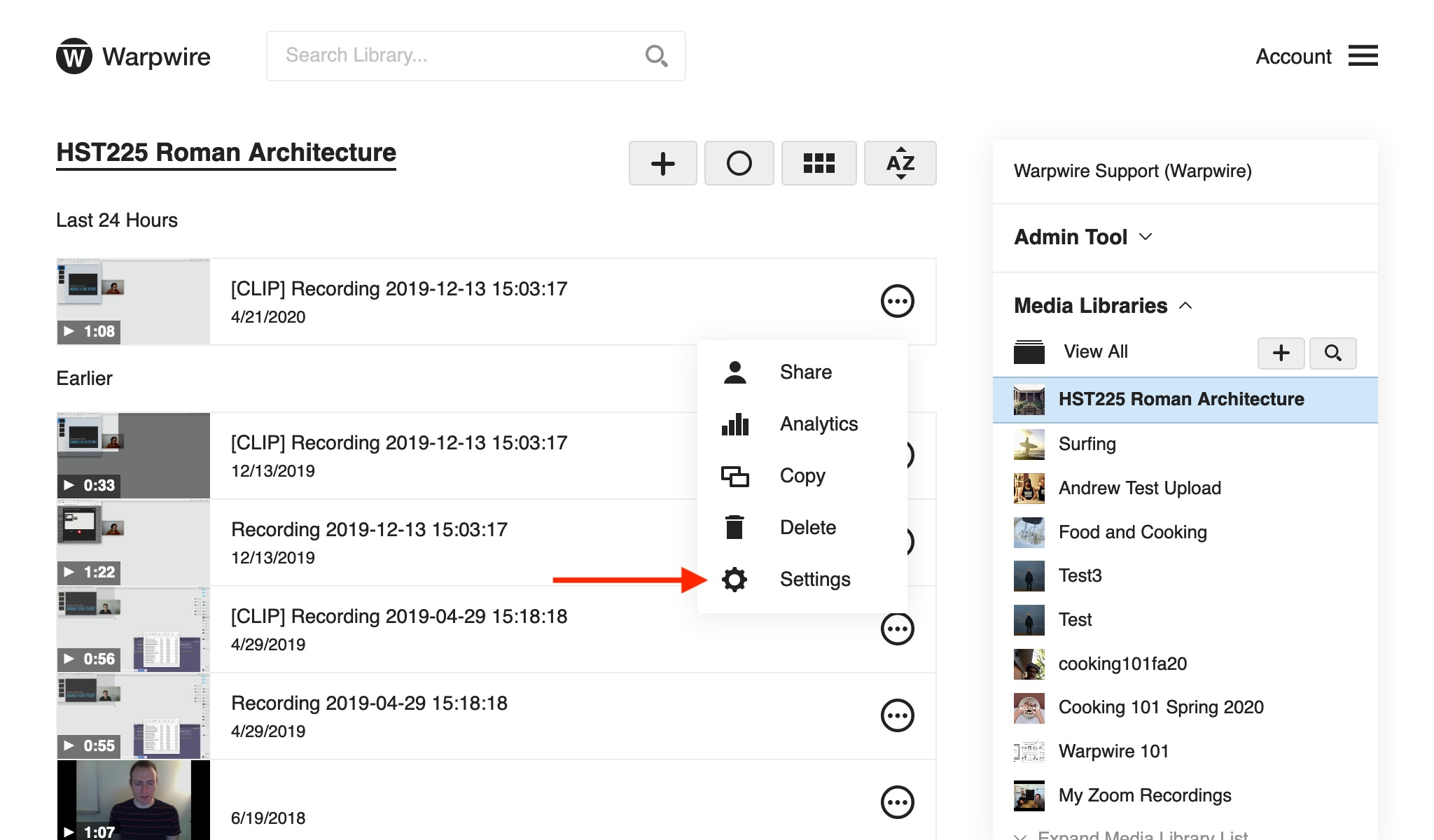 Warpwire Media Library with new recording, red arrow pointing to 'Settings'