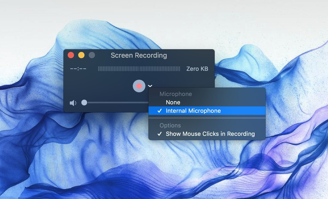 Quicktime player video and audio input options