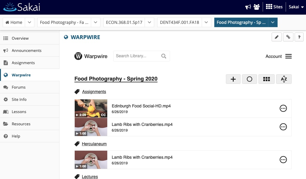 Warpwire course Media Library within Sakai course
