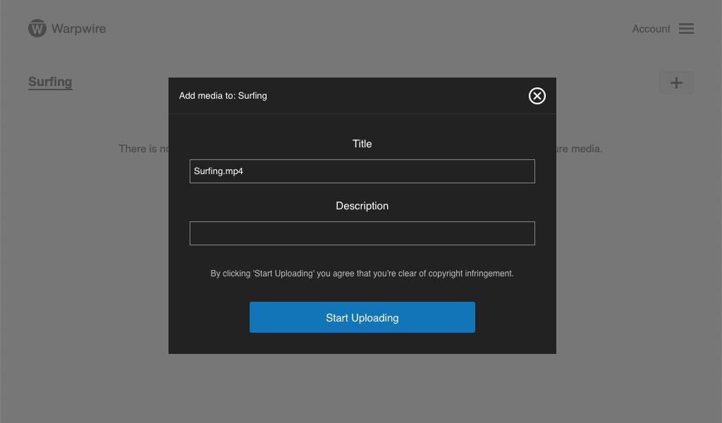 User input field for Title and Description of uploaded video